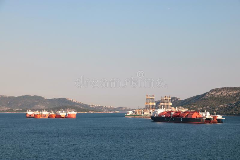 Stocznia śmiertelnie Elefsina i gaz, Grecja zdjęcie stock