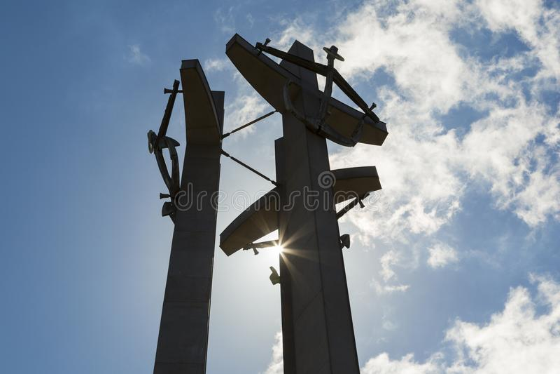 Stocznia Gdanska: Monument to the fallen shipyard workers stock photo