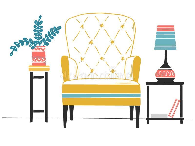 Stoel, lijst met lamp Hand getrokken vectorillustratie stock illustratie
