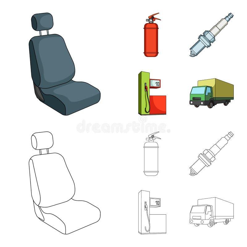 Stoel met hoofdsteun, brandblusapparaat, autokaars, benzinepost, pictogrammen van de Auto de vastgestelde inzameling in beeldverh royalty-vrije illustratie