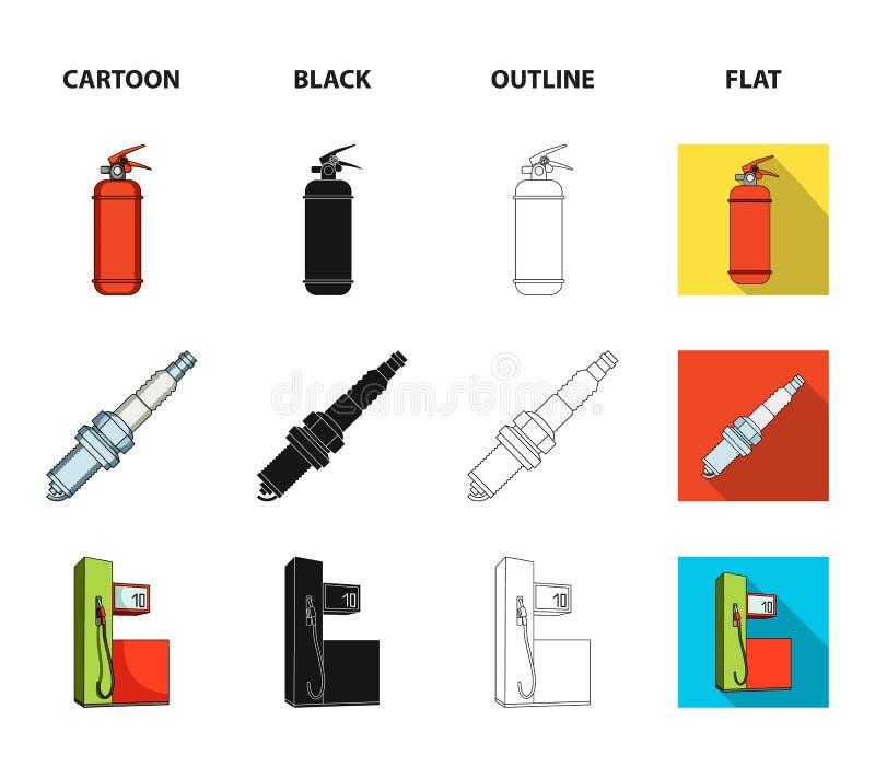 Stoel met hoofdsteun, brandblusapparaat, autokaars, benzinepost, pictogrammen van de Auto de vastgestelde inzameling in beeldverh vector illustratie