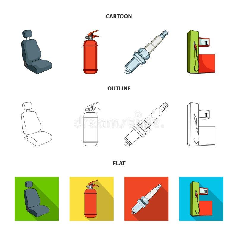Stoel met hoofdsteun, brandblusapparaat, autokaars, benzinepost, pictogrammen van de Auto de vastgestelde inzameling in beeldverh stock illustratie