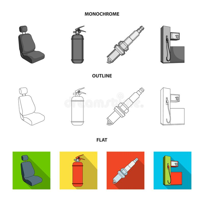 Stoel met hoofdsteun, brandblusapparaat, autokaars, benzinepost, pictogrammen van de Auto de vastgestelde inzameling in vlakte, z royalty-vrije illustratie