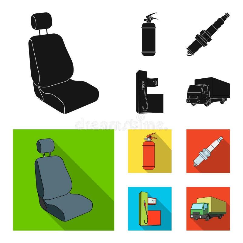 Stoel met hoofdsteun, brandblusapparaat, autokaars, benzinepost, pictogrammen van de Auto de vastgestelde inzameling in zwarte, v vector illustratie
