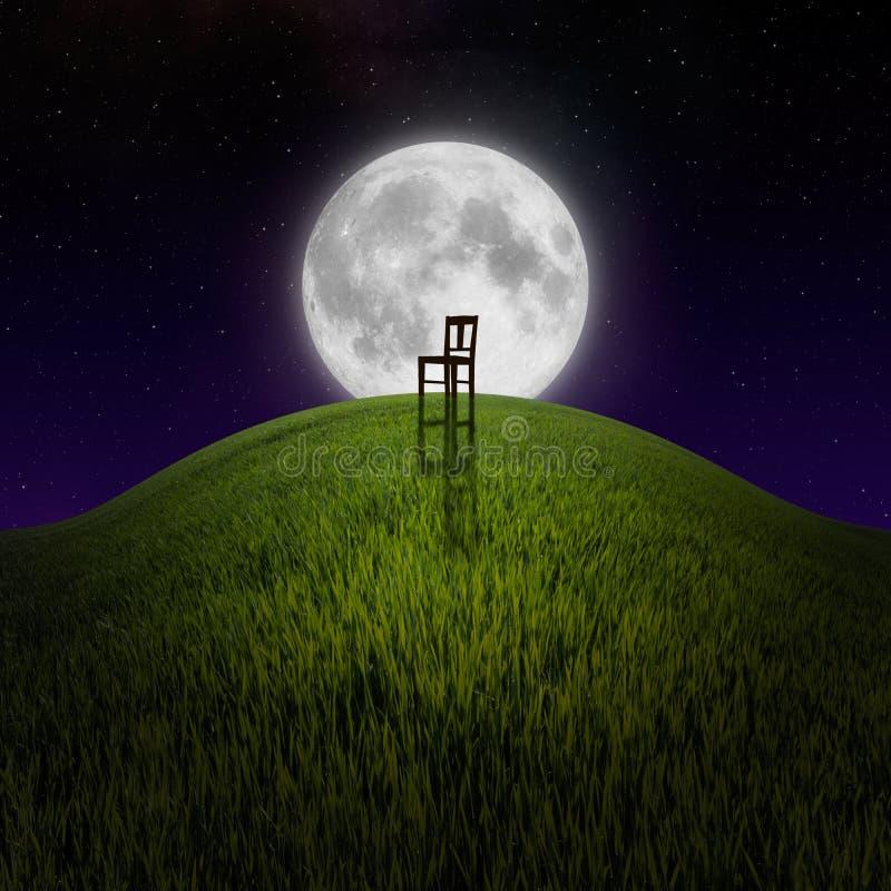 Stoel op nachtheuvel door maan wordt aangestoken die stock foto's