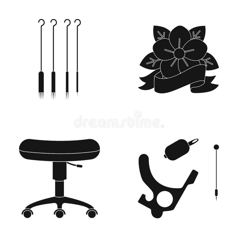 Stoel op rollen, naalden voor tatoegering en ander materiaal Pictogrammen van de tatoegerings de vastgestelde inzameling in de zw stock illustratie