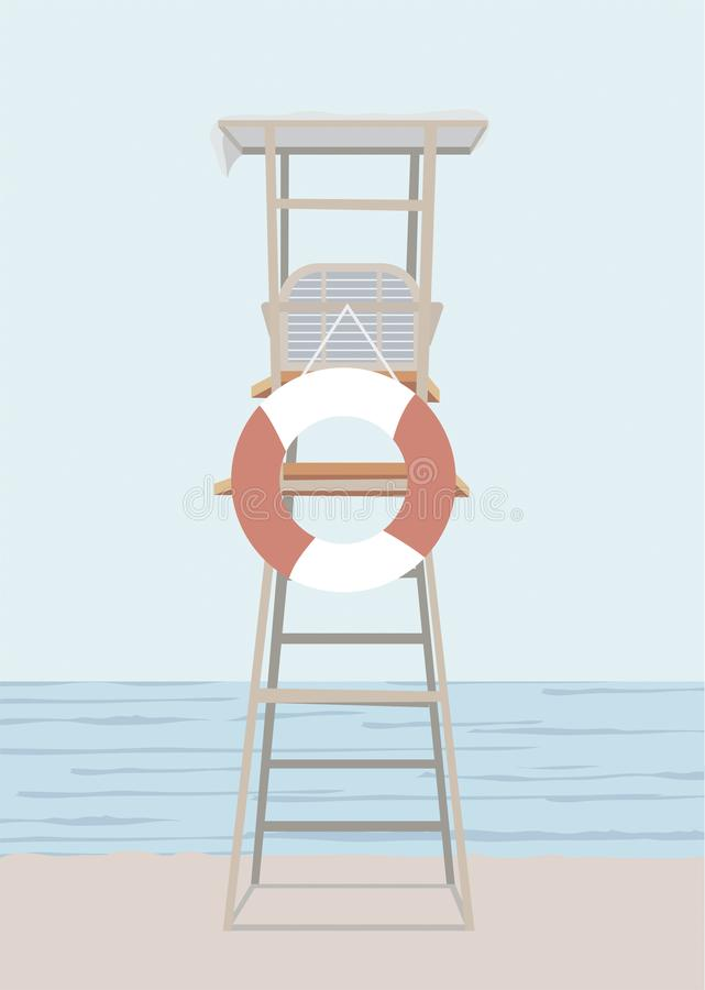 Stoel van de veiligheid van het strand het werk van de badmeesterzomer en lifesaver aangaande het overzeese landschapsgebied stock illustratie
