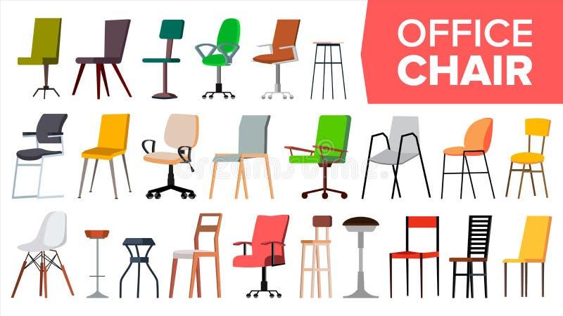 Stoel Vastgestelde Vector Stoelen van het bureau de Moderne Bureau Verschillende types Binnenlands Seat-Ontwerpelement Geïsoleerd vector illustratie