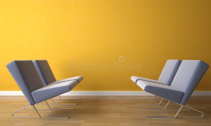 Stoel vier op gele muur stock afbeeldingen
