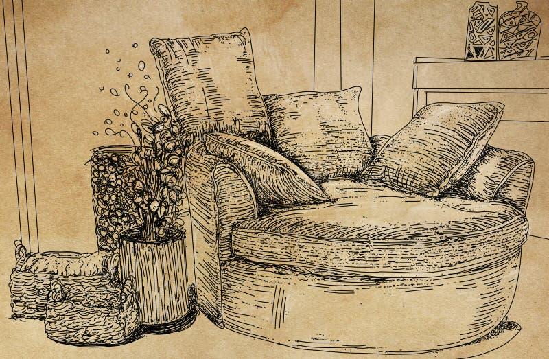 Stoel in woonkamer royalty-vrije stock afbeeldingen