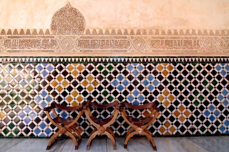 Stoelen, Alhambra royalty-vrije stock foto