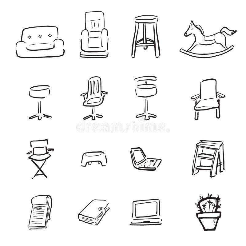 Stoelen en couchs de pictogrammen van de beeldverhaaltekening stock illustratie