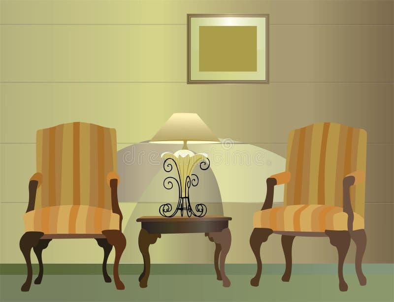 Stoelen. hotel. lamp vector stock illustratie