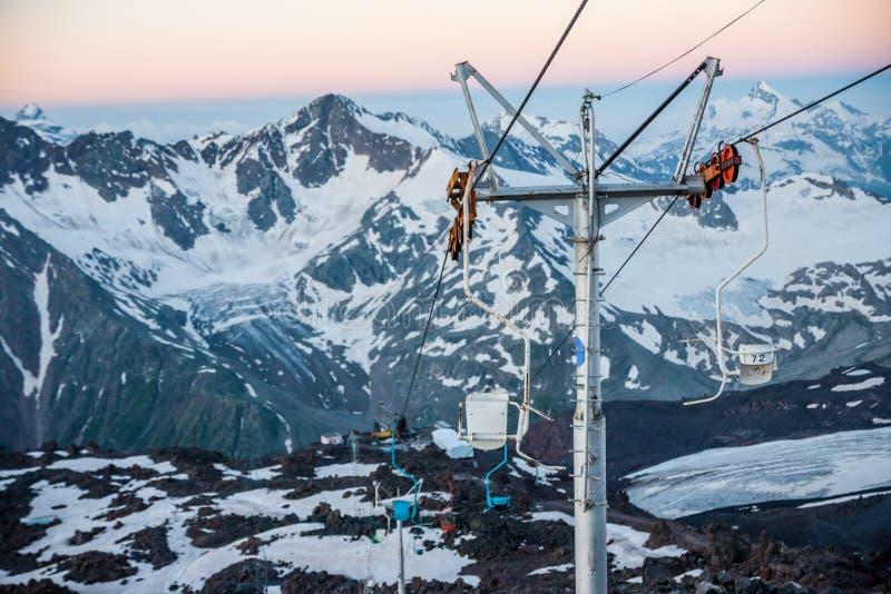 Stoellift, Elbrus royalty-vrije stock fotografie