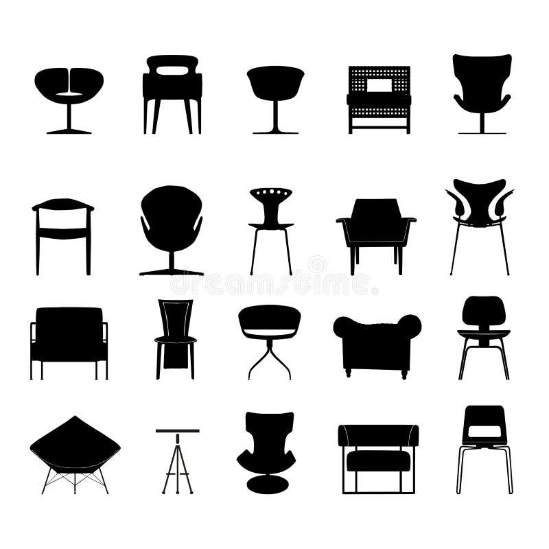 Stoelpictogrammen geplaatst voor om het even welk gebruik groot Vector eps10 royalty-vrije illustratie