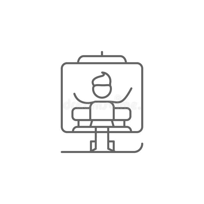 Stoeltjeslift, avonturenpictogram Element van avonturenpictogram Dun lijnpictogram voor websiteontwerp en ontwikkeling, app ontwi vector illustratie