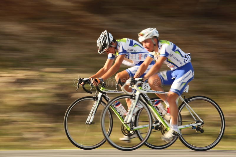 Stoenchev Valentin and Robov Momchil cyclists from Bulgaria near Paltinis royalty free stock photography