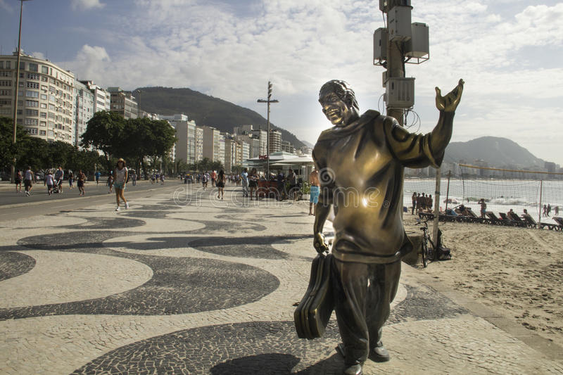 Stoep bij Copacabana-strand stock fotografie