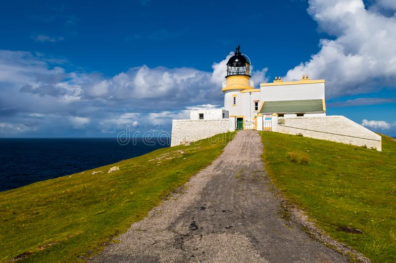 Stoer Head Lighthouse At The Atlantic Coast Near Lochinver In Scotland stock photography
