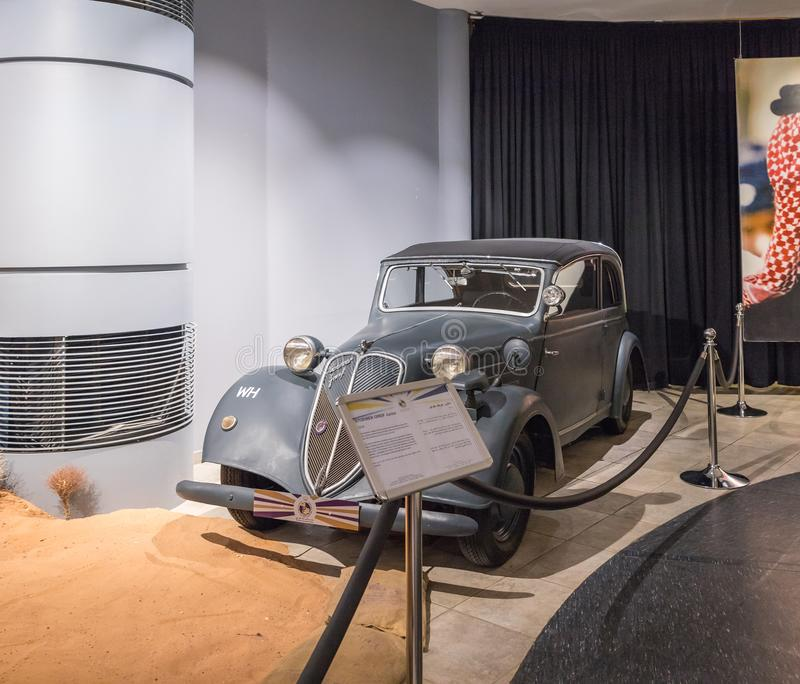 Stoewer Greif Junior 1938 at the exhibition in the King Abdullah II car museum in Amman, the capital of Jordan royalty free stock photos