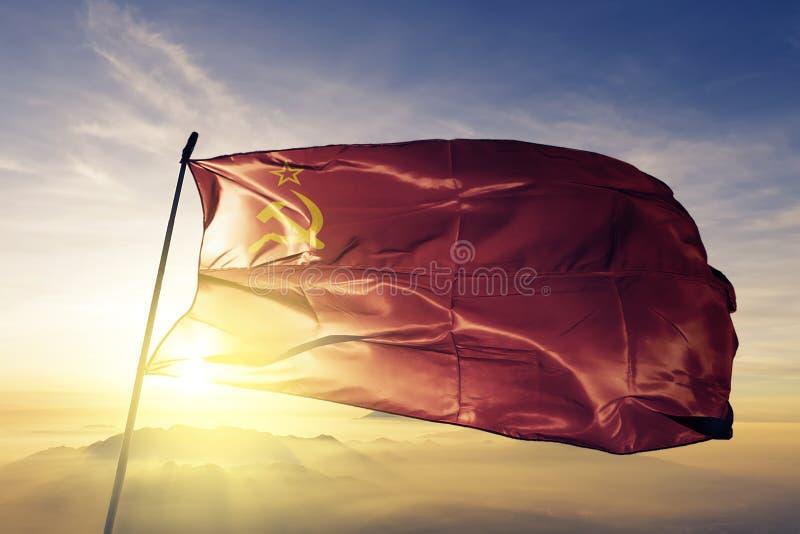 Stof die van de de vlag textieldoek van Sovjetunie de nationale op de bovenkant golven vector illustratie