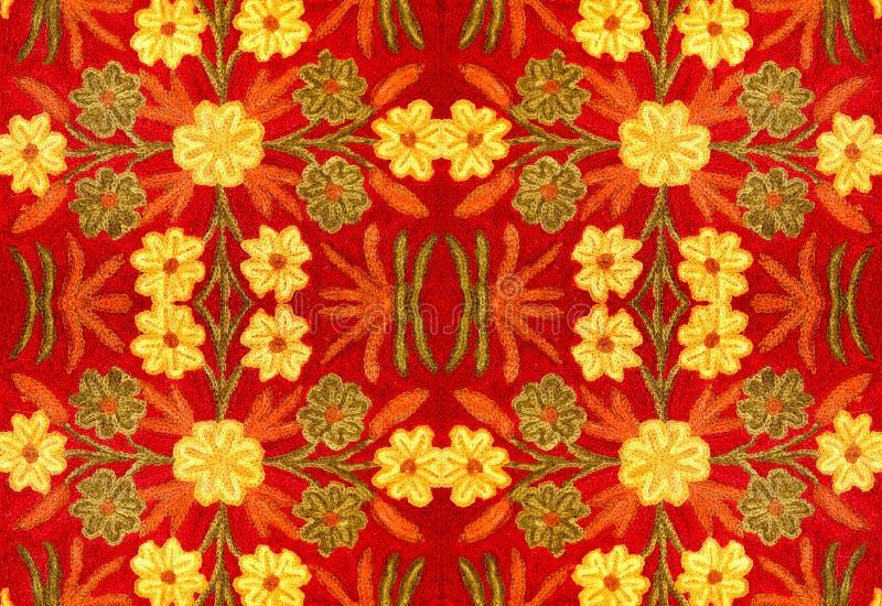 Stof met een patroon van bloemen, met de hand gemaakt borduurwerk, stock afbeeldingen
