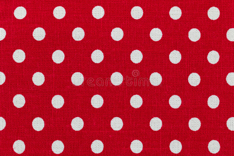Stof met rood en wit stippenpatroon stock fotografie