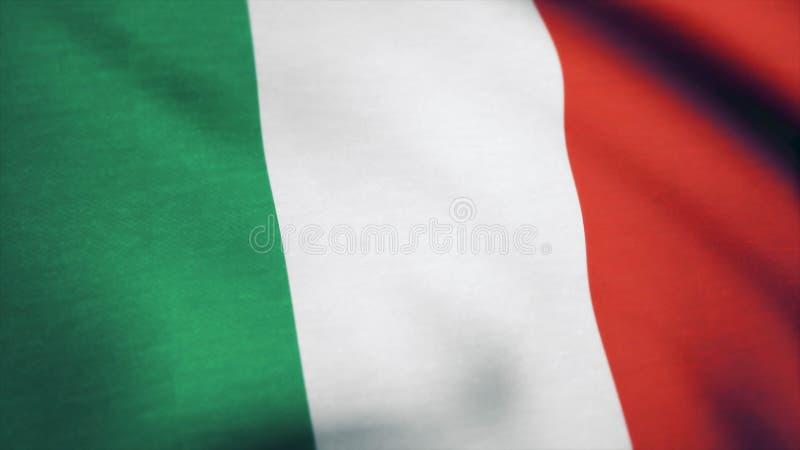 Stof van de vlag die van Italië, in de wind golven Vlag van de achtergrond van Italië stock foto's