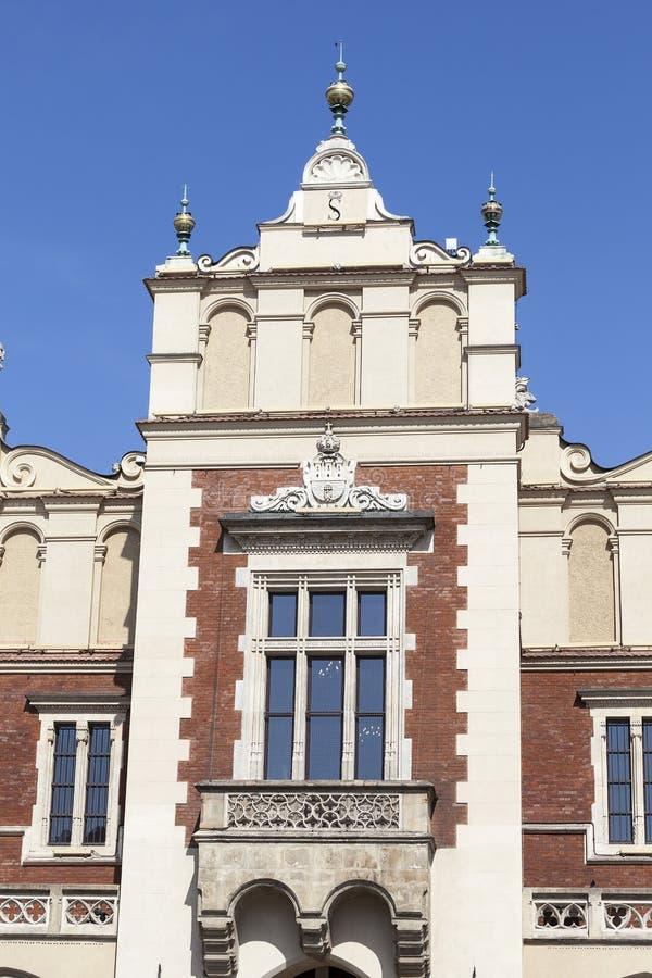 Stoff Hall u. x28; Sukiennice& x29; , Hauptmarktplatz, Krakau, Polen stockfotografie