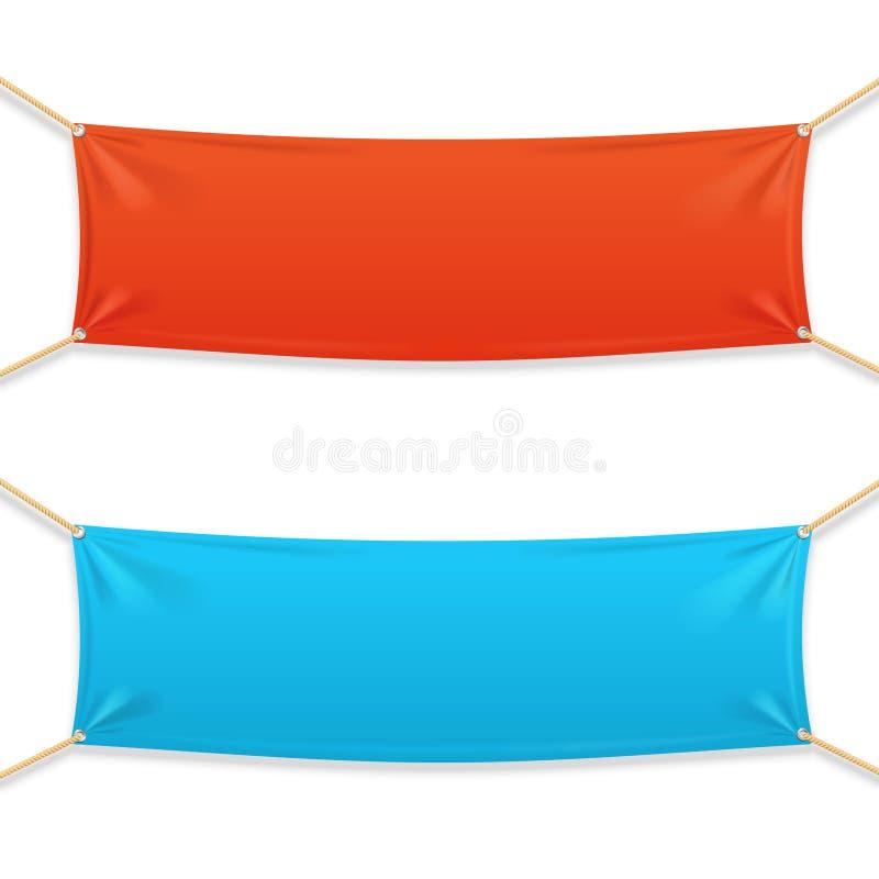 Stoffen Rechthoekige Horizontale Banner met Kabels royalty-vrije illustratie