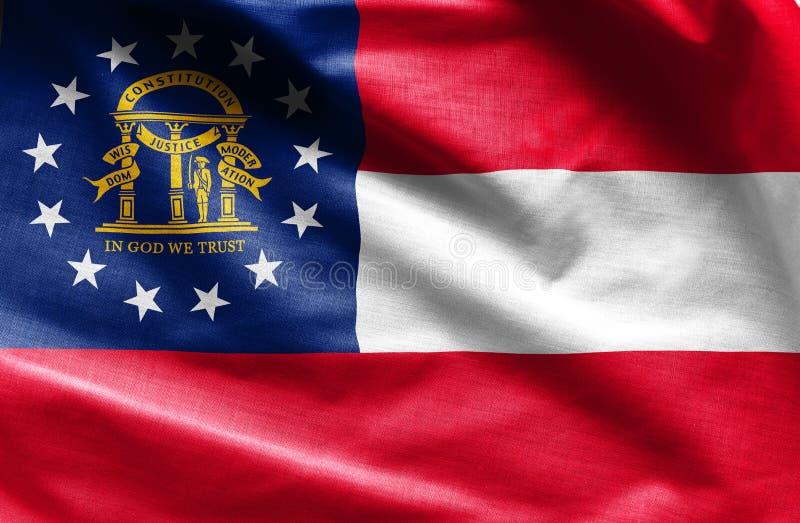 Stoffentextuur van Georgia Flag - Vlaggen van de V.S. royalty-vrije stock afbeelding
