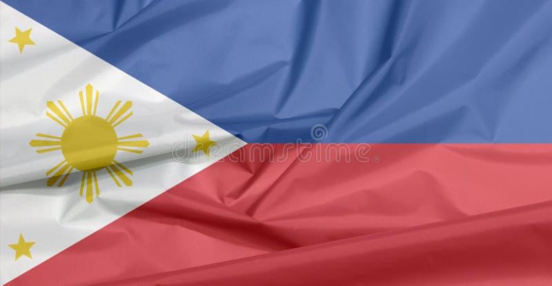 Stoffenvlag van Filippijnen Vouw van Filipijnse vlagachtergrond stock afbeelding