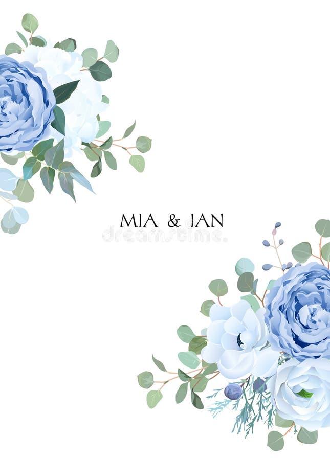 Stoffige blauw nam, witte hydrangea hortensia, ranunculus, anemoon, eucalyptu toe royalty-vrije illustratie
