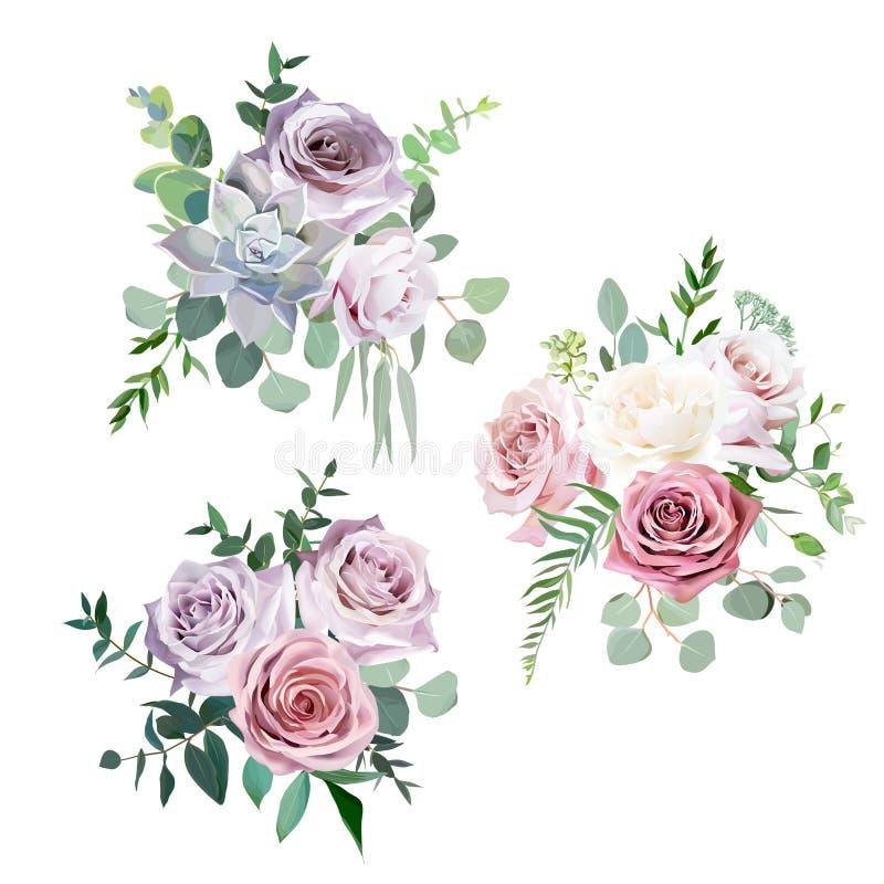 Stoffige roze, romig witte en mauve antiek nam de vectorboeketten van het ontwerphuwelijk toe royalty-vrije illustratie