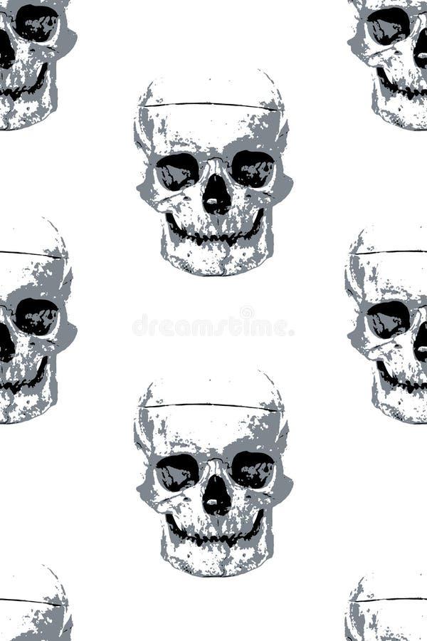 Stoffmuster mit grauen menschlichen Schädelbildern lizenzfreie stockfotos
