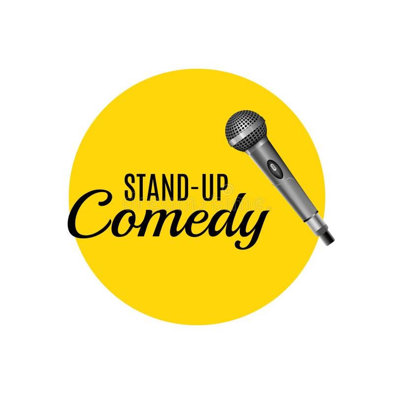 Stoi up komediowego szablonu wektoru loga Stoi up korporacyjnego promocyjnego symbolu reklamowego sztandar royalty ilustracja
