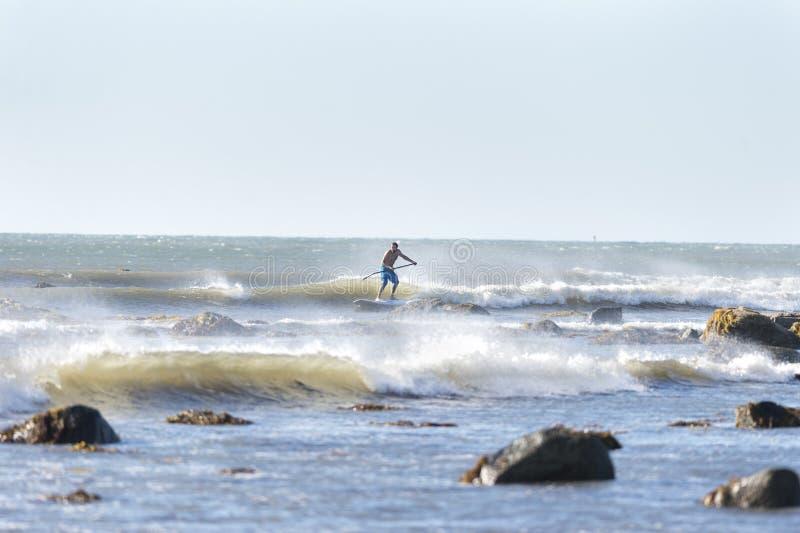 Stoi up paddleboarder w skałach obrazy stock