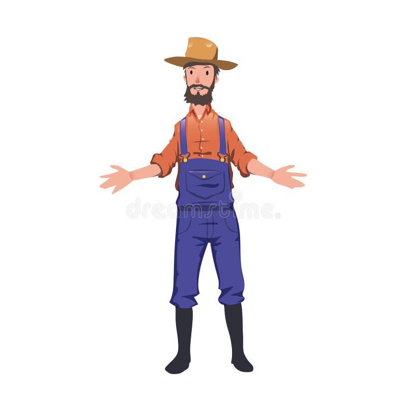 Stojący rolnika w kapeluszowym powitaniu someone Odizolowywająca na biel wektorowa ilustracja ilustracja wektor
