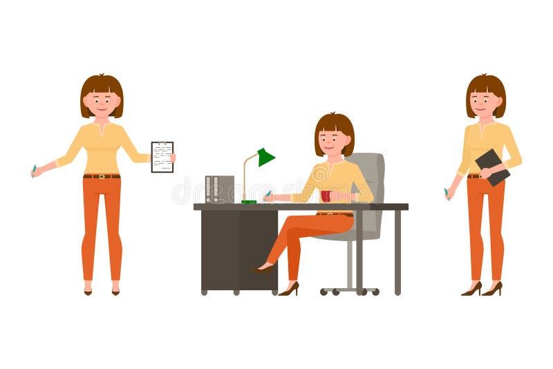 Stojący z notatkami, pisać przy stołem, siedzi bocznego widoku dziewczyny postaci z kreskówki - ustawia na białym tle ilustracji
