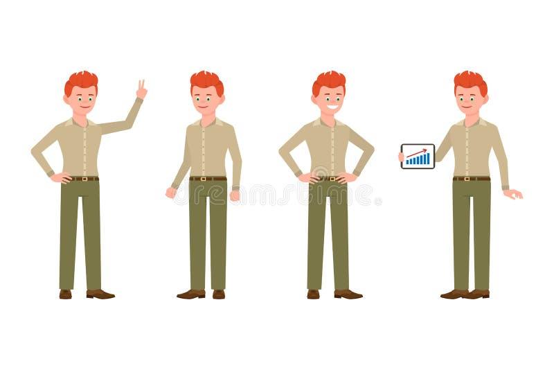 Stojący z pastylką, pokazuje zwycięstwu szyldowego chłopiec charakteru Szczęśliwy, ono uśmiecha się, śliczny czerwony włosiany mł ilustracja wektor