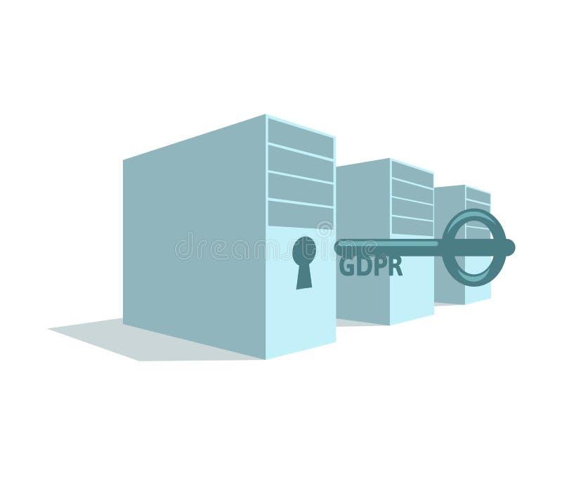 Stojak serwery z keyhole i GDPR kluczem obok go Blokuje twój osobistych dane Cyfrowej ochrona Ogólni dane royalty ilustracja