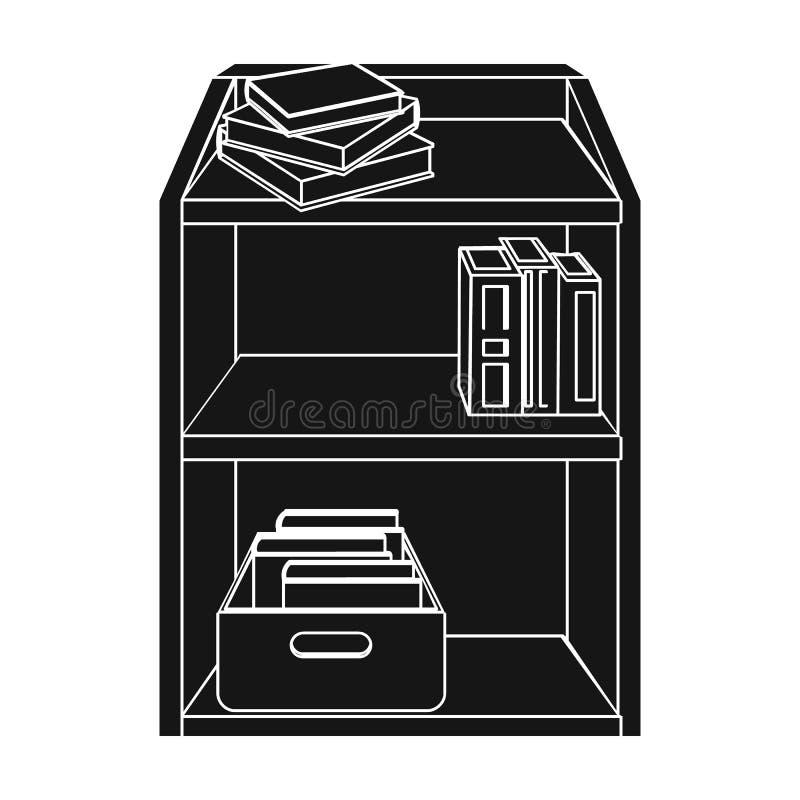 Stojak z książkami i dokumentami Biurowego meble pojedyncza ikona w czerń stylu symbolu zapasu Isometric wektorowej ilustraci ilustracji