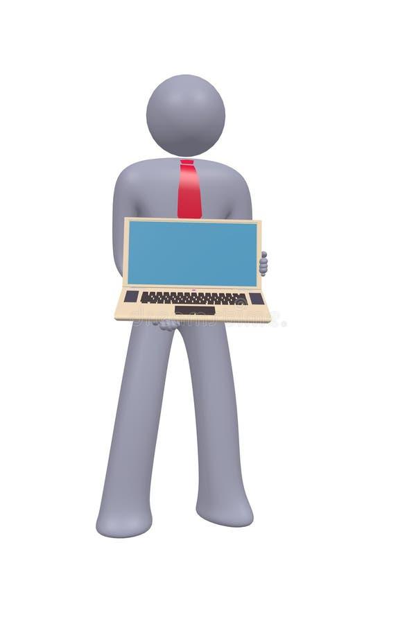 stok de bedrijfs abstracte mens toont laptop computer royalty-vrije stock foto's