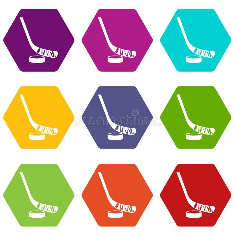 Download Stok En Puckpictogram Vastgestelde Kleur Hexahedron Vector Illustratie - Illustratie bestaande uit geïsoleerd, activiteit: 107707752
