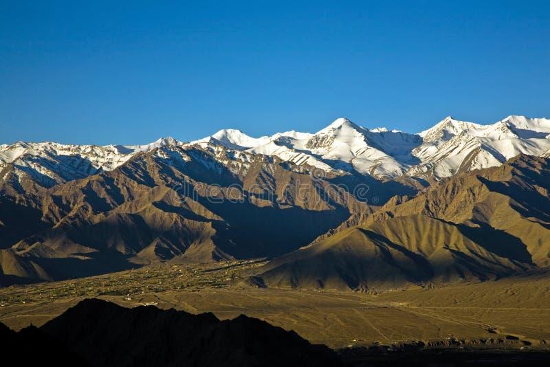 Stok Kangri Range and Leh Valley , Leh-Ladakh, India royalty free stock image