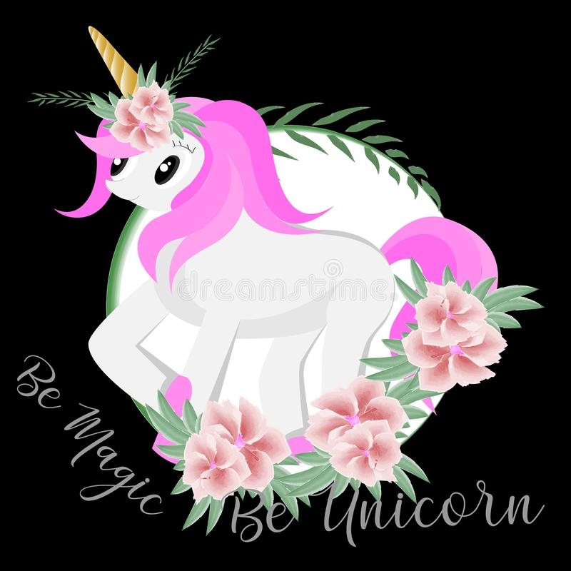 Be magic be unicorn with watercolor illustration stock illustration