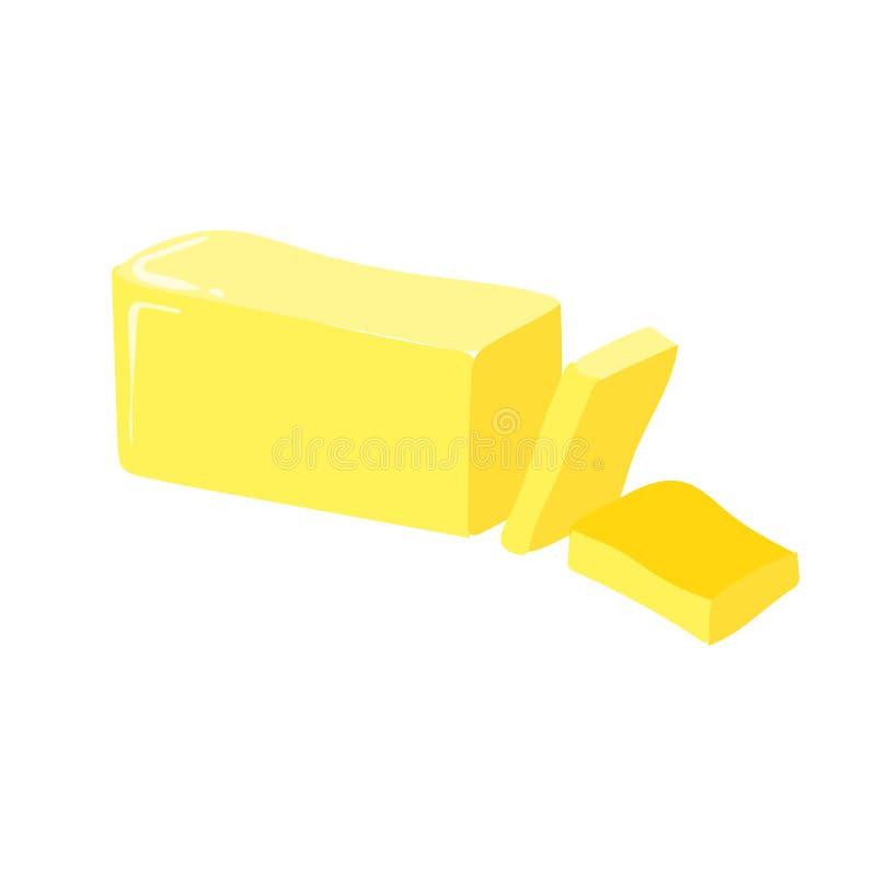 Stok van boter, besnoeiing, vectorpictogram Gezond het eten beeldverhaal illust vector illustratie