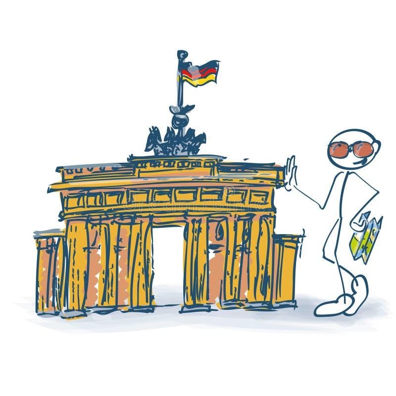 Stokcijfer als toerist met de Poort van Brandenburg in Berlijn vector illustratie