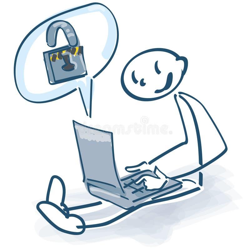Stokcijfer bij laptop en een wachtwoordslot stock illustratie
