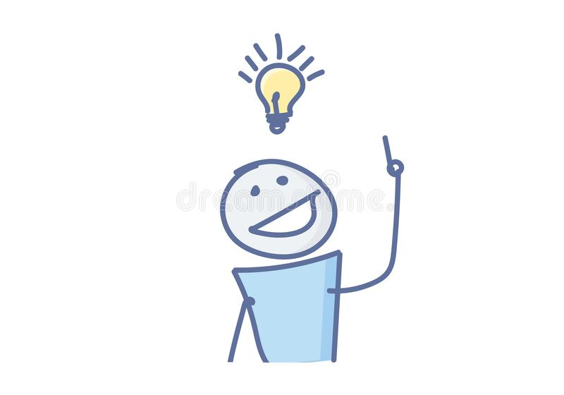 Stokcijfer die een creatief idee met een gloeilamp over zijn hoofd hebben Vector illustratie vector illustratie